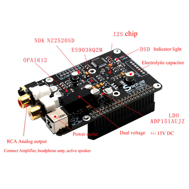 Decodificador DAC ES9038q2m, reproductor de red de emisión Digital para Raspberry Pi 3B + I2S 32bit 384K DSD128 PCM384KMHZ Volumio Moode
