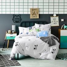 100% Cotton White Black Cute Cat Bedding Set Embroidered King Queen Twin Size Girls Women Bed sheet set Duvet Cover Pillow shams
