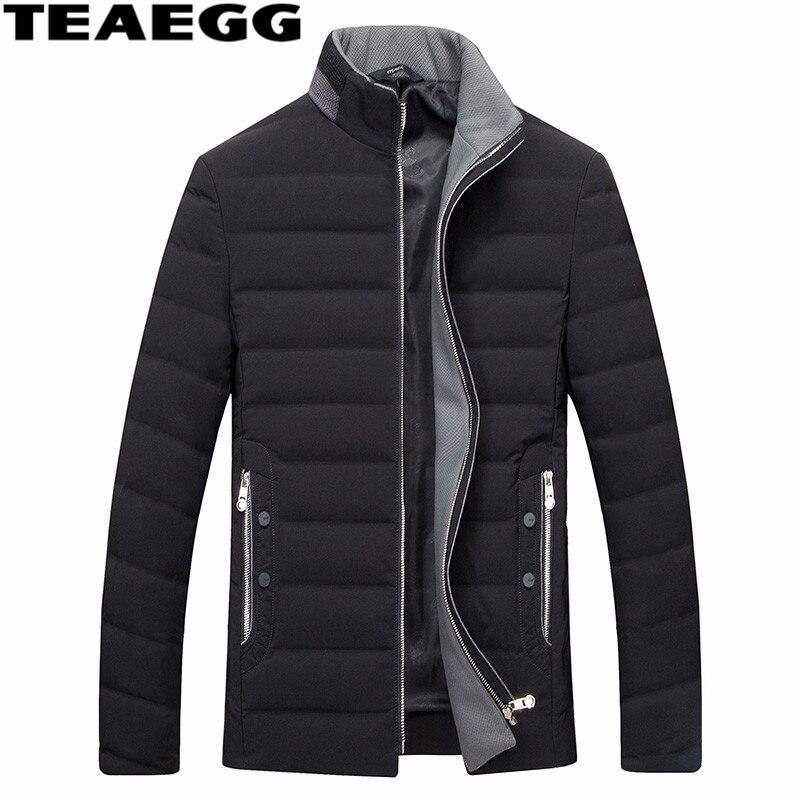 TEAEGG Black Man down jacket Clothing Mens Winter Coat Park White Duck Down Warm Mens Jackets Outwear Plus size 5XL 6XL AL409