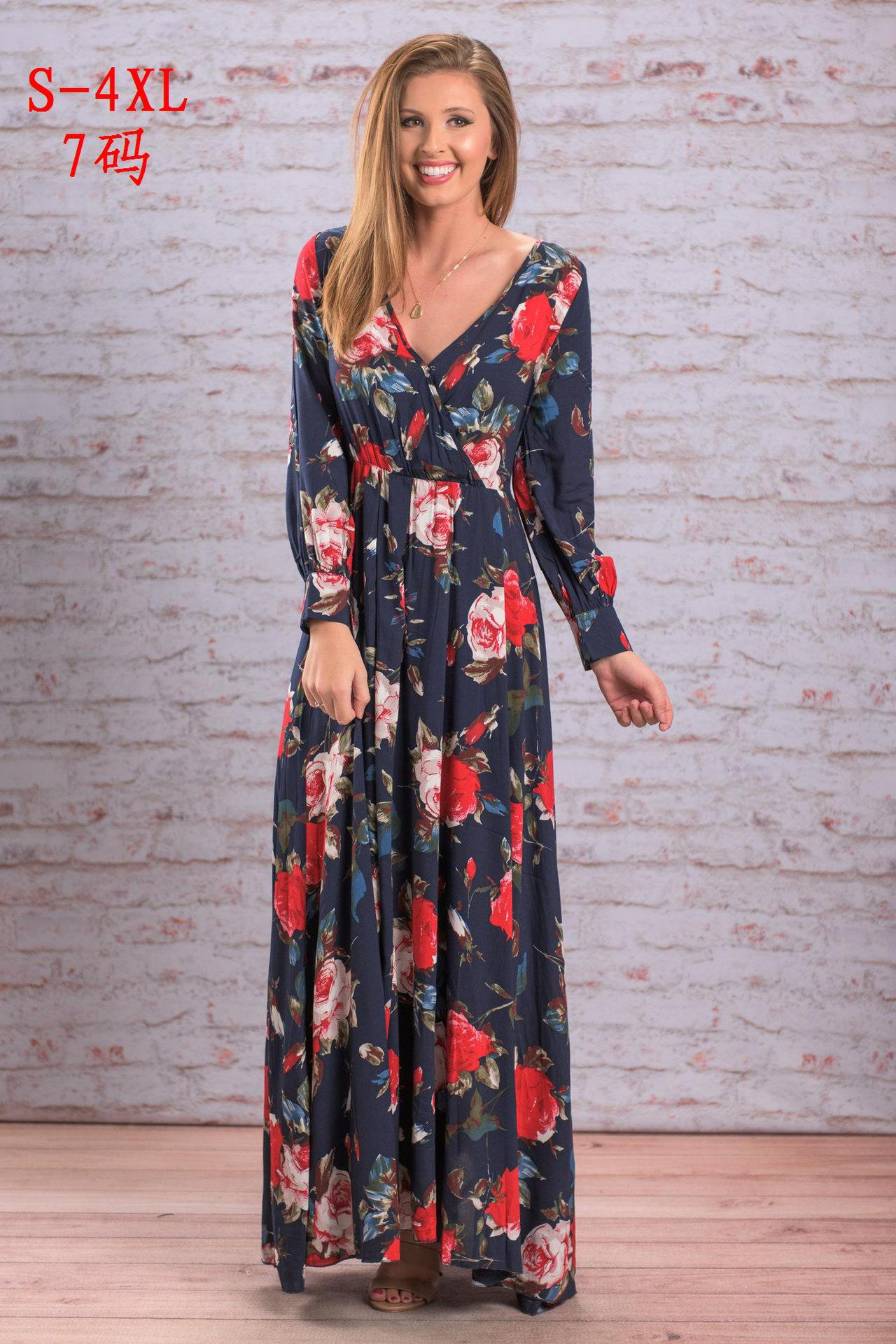 2018 new v neck long sleeve printed chiffon long dress multicolor in Dresses from Women 39 s Clothing