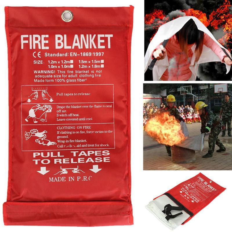 Fire Blanket 1x1m Emergency Survival Safety Fires Glass Fiber Clothing 0.45mm PRE  Emergency Survival Fire Shelter Fire Blanket(China)