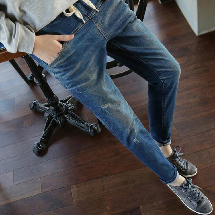 Ankle-Length High Waist   Jeans   Woman Side Striped Patchwork Skinny   Jeans   All Matched Casual Pants Brief Slim Winter 1MF001-021