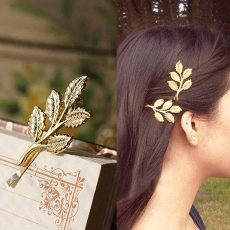 Hot Sale 1PC New Fashion Charming Golden Leaf Design Hairpin  For Women  Girls Hair Clip  Accessories