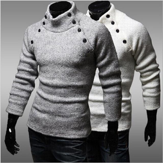 2016 Homens Blusas de Gola Alta Manga Longa Mens Luxo de Lã Botão Bape Inverno Homem Camisola de Malha Jumper De Natal
