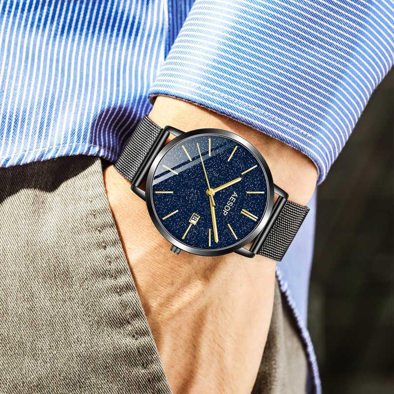 イソップレロジオ Masculino クォーツ腕時計メンズ高級トップブランド腕時計高級男性時計防水日付ステンレス鋼腕時計
