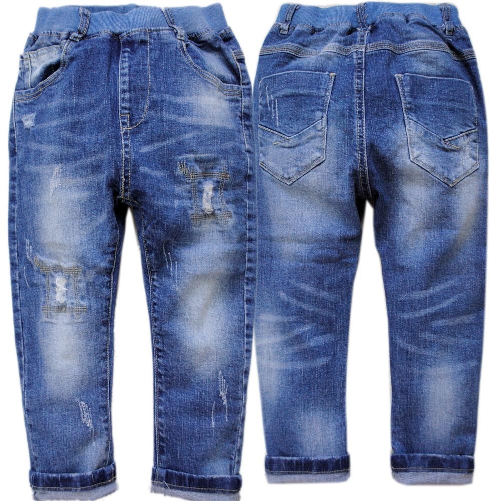 4037 barn pojkar jeans barn casual byxor blå mjuk denim pojke byxor - Barnkläder