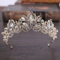 1 шт./пакет красивая с украшением в виде кристаллов свадебные диадемы элегантный головной убор стразы принцессы короны для торжеств Свадебн...