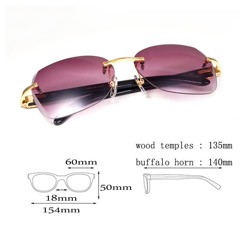 b6041b42606 Diamond Cutting Black White Buffalo Horn Sunglasses Frame Men for Club  Wooden Rimless Sun Glasses Vintage Goggles Oculos Shades-in Sunglasses from  Men s ...
