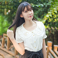 2016 Women Chiffon Lolita Blouse Moon Star Constellation Embroideried Short Sleeve Shirt Peter Pan Collar Shirts
