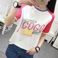 2017 a primavera eo verão nova tendência da moda de algodão de manga curta t-shirt carta padrão de cor solta T-shirt feminina