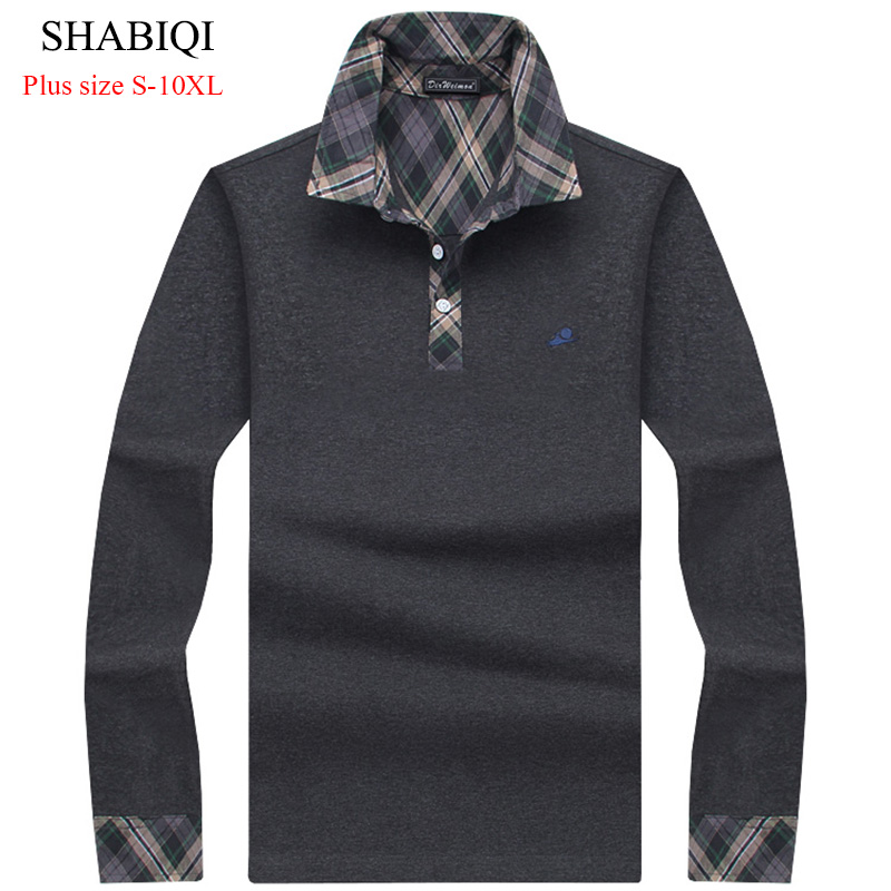 Classic Mens Polo Shirt Striped Long Sleeve Blends Male Brand Clothing Men Business Slim Fit Polo Shirts Plus Size M-10XL