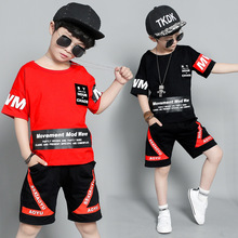 kids clothes Boys Fashion Set 2019 Summer New Cotton Like Print T-Shirt Sports Shorts Cool