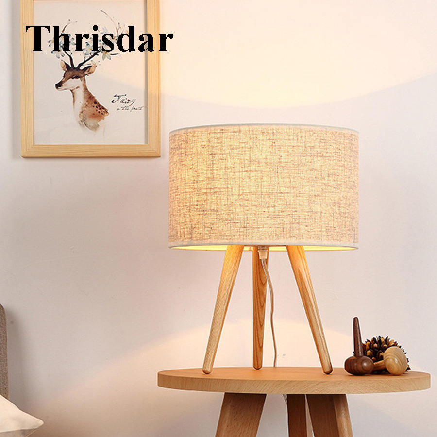 Desk Lamps Thrisdar Led Three-legged Solid Wood Table Lamp Linen Cover Wood Art Small Table Lamp Bedroom Bedside Study Small Table Lamp Good Heat Preservation Lamps & Shades