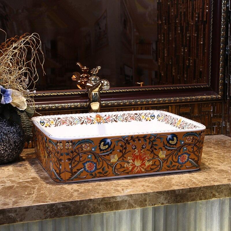 Europe Vintage Style Art Countertop Basin Sink Handmade Ceramic Bathroom Vessel Sinks Vanities bathroom sink bowl (1)