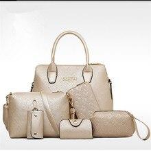 Allgleiches 6 sätze Dame tasche berühmte marke mehrzweck Präge Frauen Handtasche Crossbody Messenger Bag + + rse + Wallet