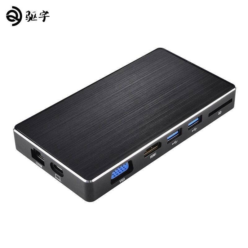 USB C адаптер все в одном Тип-C до 3,0 концентратора/HDMI/VGA/RJ45/SD /USB3.0 преобразователь с PD зарядки для MacBook/Pro 2017
