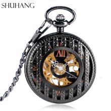 SHUHANG Big Roman Numbers Elegant Mechanical Pocket Watch Hand Winding Pendant Exquisite Skeleton Stripe Women Men Birthday Gift