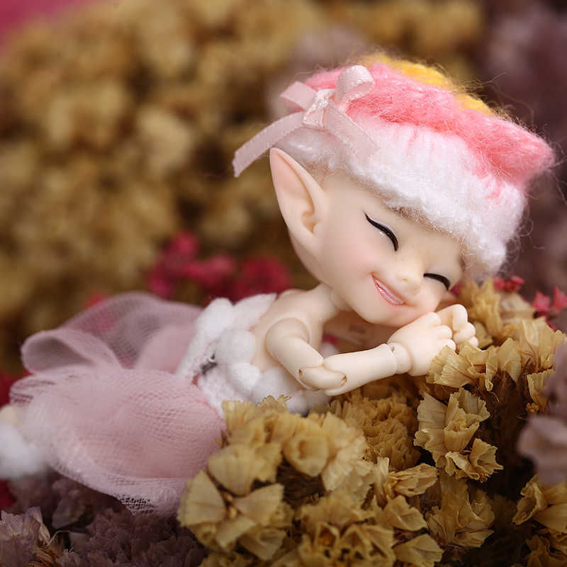 Бесплатная доставка сказочная FL Realpuki Popo BJD кукла 1/13 розовая улыбка эльфы игрушки