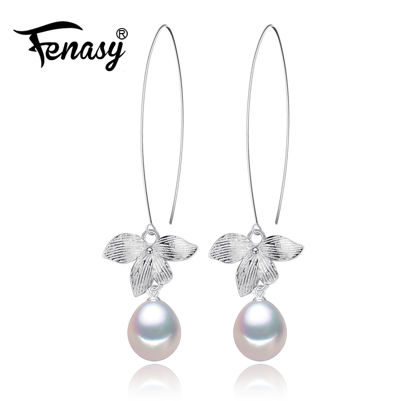 FENASY Natural Pearl earrings Pearl Jewelry Choker for Women Casual Style 2017 Jewelry Pearl Charm Bohemia leaf earrings