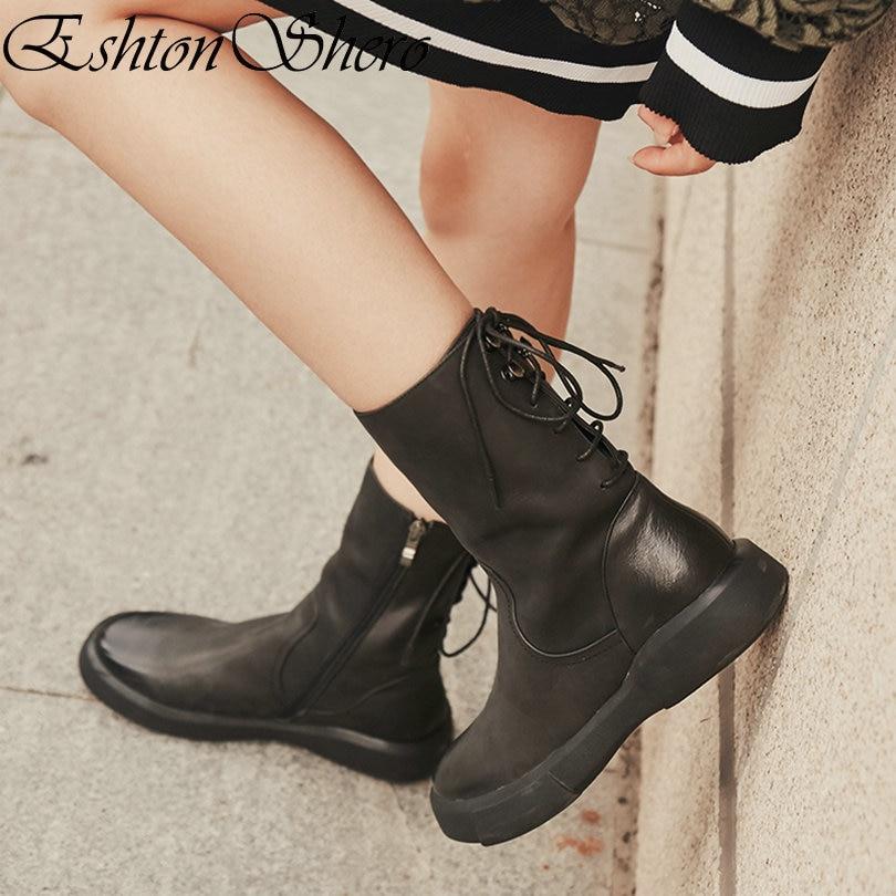 EshtonShero Spring Shoes Woman Mid Calf Boots Low Heel Round Toe Genuine Leather Zipper Black Women Ladies Boots Size 35-40 недорго, оригинальная цена