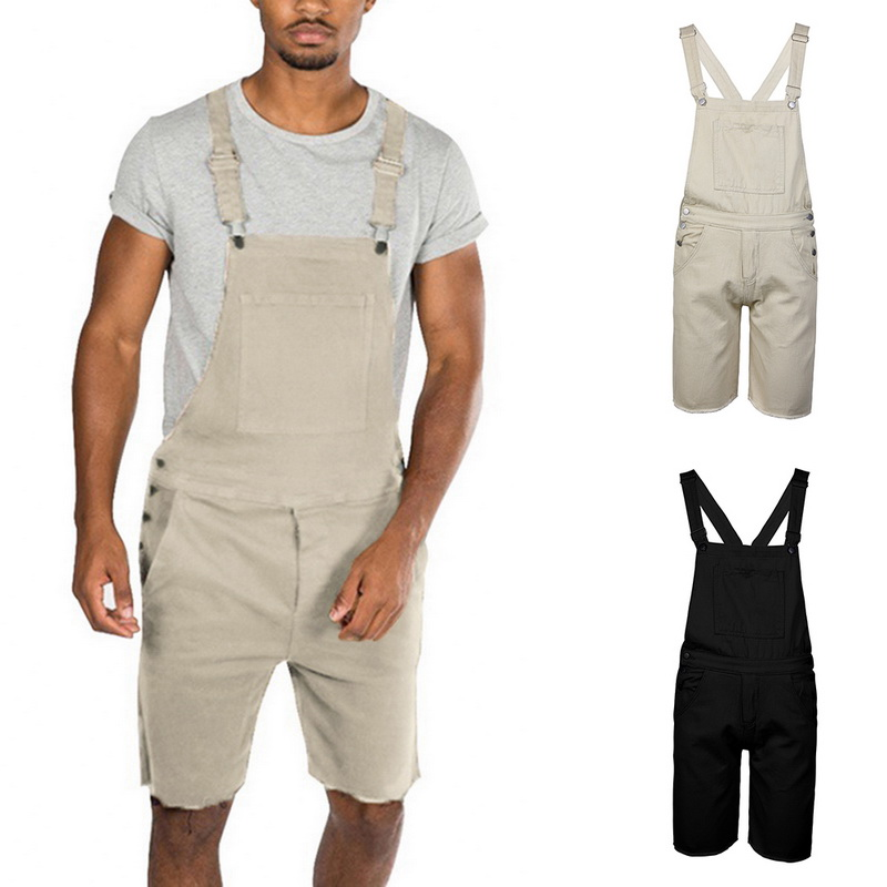 MJARTORIA Rompers Jumpsuit Bib-Shorts Lightweight Loose Casual Mens Fashion Denim Button