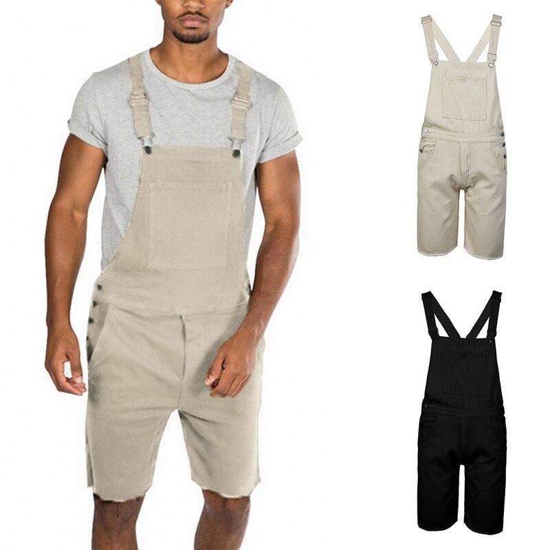 MJARTORIA Mens Bib Shorts Lightweight Casual Loose Fit Walkshort Jumpsuit Button Fashion Denim Rompers