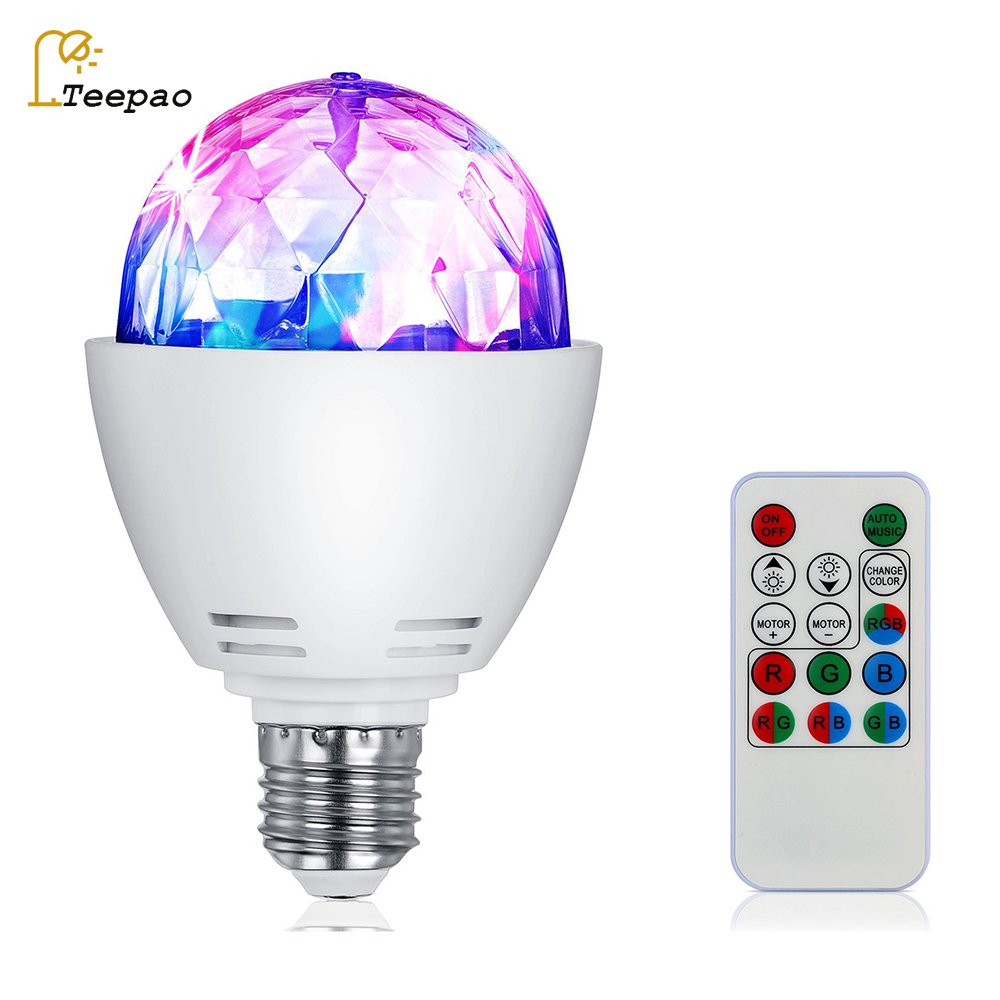 E27 3W Colorful Auto Rotating RGB LED Bulb Stage Light Party Lamp Disco for Home Decoration Lighting Lamps With Remote Control