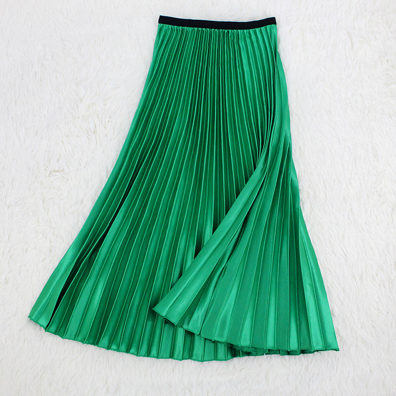 Summer Women Pleated Skirt Metallic Solid Color Long Skirt Green Midi High Waist A-line Saia Faldas Mujer Moda 2019