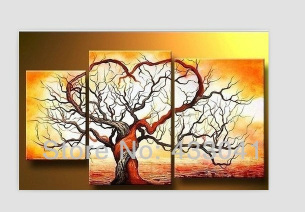 Hand Painted Bright Tree Ocean Waves Picture Oil Painting