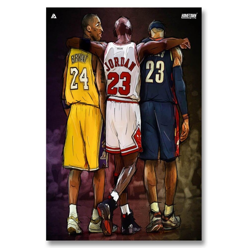 7648b212dec J402 Michael Jordan Kobe Bryant Lebron James Basketball NBA Star Hot Art  Print Poster Silk Light Canvas Painting Home Room Decor-in Painting &  Calligraphy ...