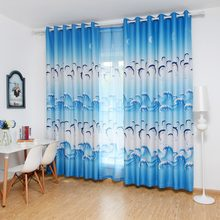 Cartoon Blue Dolphin Curtains For Living Room Blackout Cloth Purple Curtais For Boys Girls Kids Bedroom 1*2.5m(China)