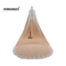 Doragrace Voile Mariage 1T 3M Lace Edge White Ivory Cathedral Wedding Veil Long Bridal Accessories