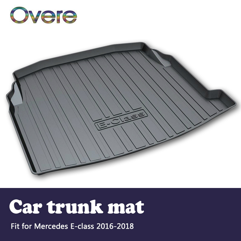 Overe 1Set Car Cargo rear trunk mat For Mercedes Benz E-class W213 2016 2017 2018 Boot Tray Waterproof Anti-slip Mat Accessories car trunk mat cargo liner rear boot mat custom fit for mercedes benz e class w213 gla gla200 gla220 gla45 amg glc coupe
