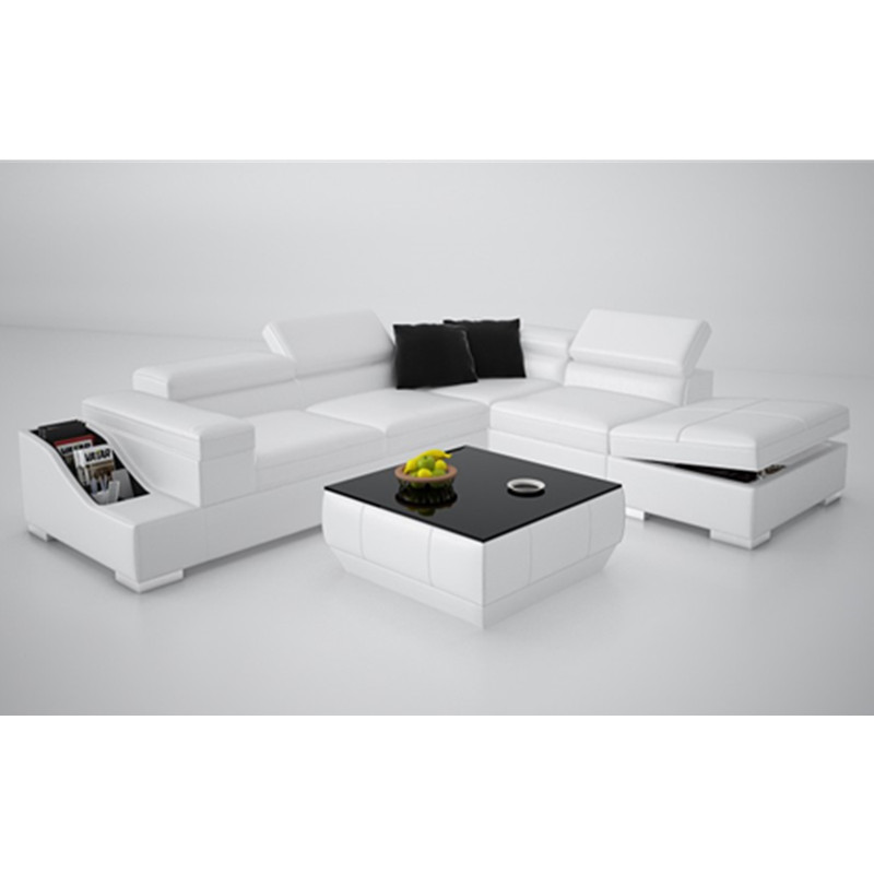 white l shape small couch