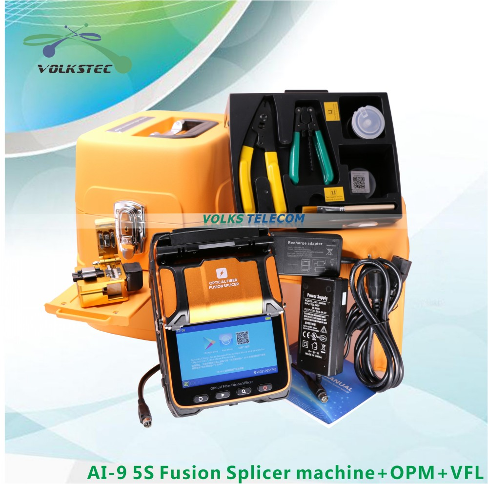 5S AI-9 Fusion Splicer Machine SM & MM VFL OPM Splicing Machine With FRENCH RUSSIAN SPANISH PORTUGUESE