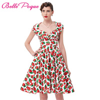 New Arrival 2016 50s Rockabilly Dress Cap Sleeve V Neck Retro Vintage Cotton Picnic Dresses Swing