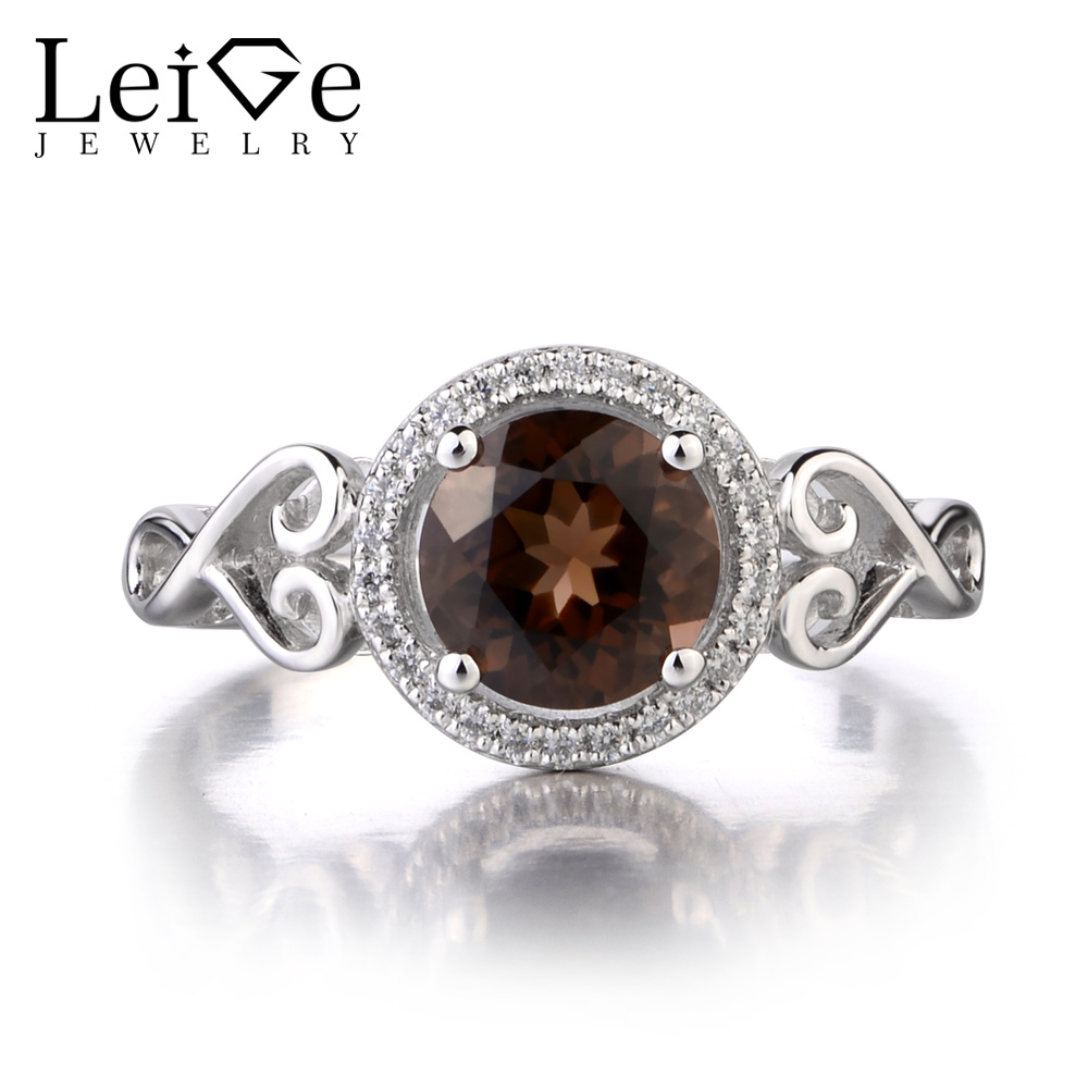 Leige Jewelry 925 Sterling Silver Natural Smoky Quartz Ring Round Cut  Gemstone Promise Engagement Rings Gifts