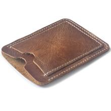 vintage cow leather simple bus card holder 100% genuine mini wallet for credit cards cardholder porte carte bancaire