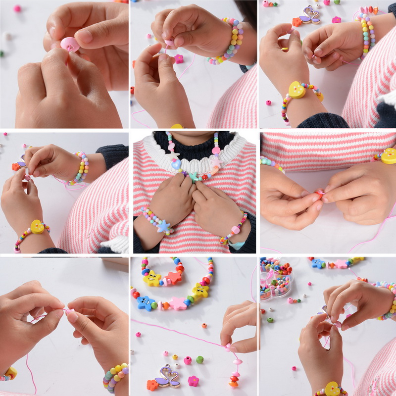 1box Mixed Kids Multicolor Wood Beads For Diy Jewelry Making Fit