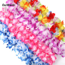 OurWarm 12pcs Hawaiian leis Garland Artificial necklace Hawaii Flowers Party Supplies Beach Fun wreath DIY gift Decoration
