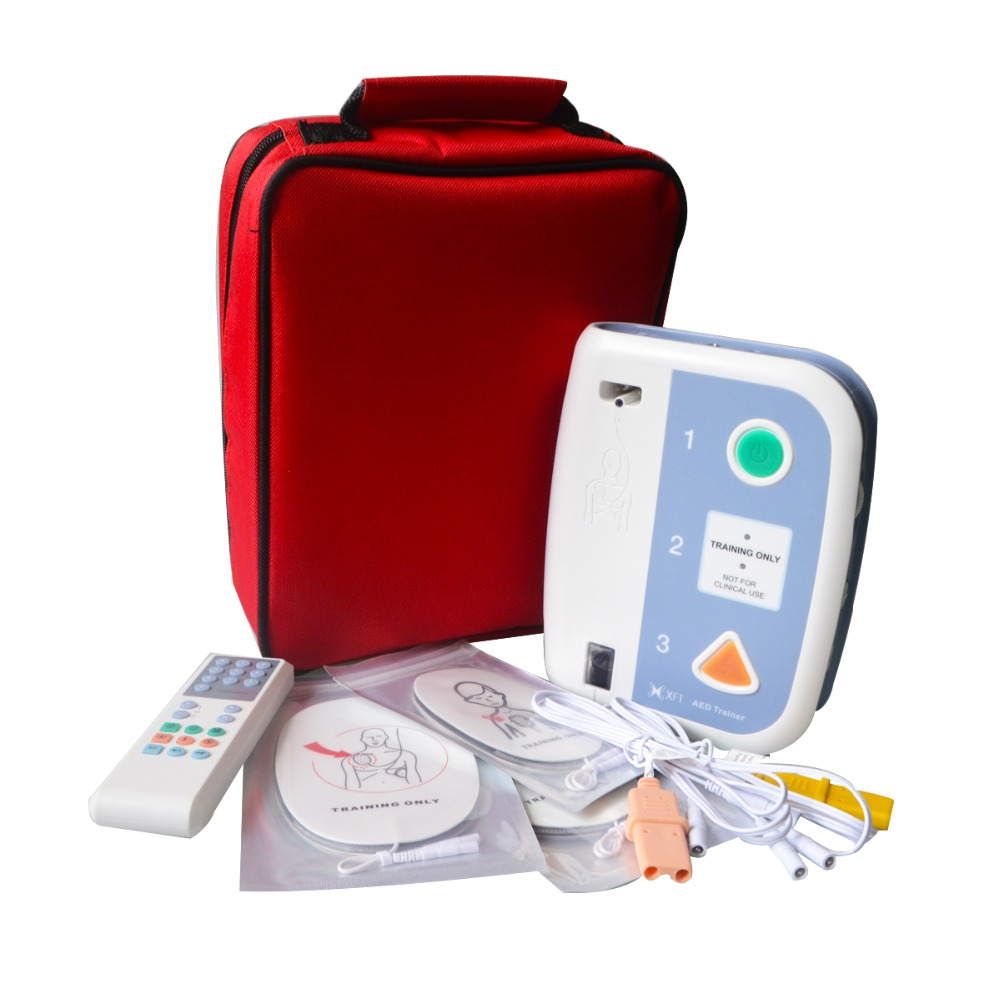 New Electronic AED Trainer 120C+ With Remote Control AED Training Device For CPR Training Emergency Teaching In English And Thai 5pairs aed training electrodes ecg defibrillation electrode pad use with aed machine for emergency skills training