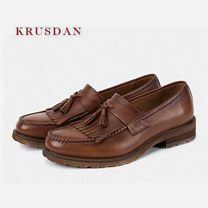 KRUSDAN Casual Men Handmade Brown Genuine Leather Loafers Tassel Dress Wedding Shoes Men's Slippers Party Smoking Slip On Flats sexy pointed toe slip on women slippers 2017 handmade embroidery leather flats dress shoes woman gladiator tassel casual shoes