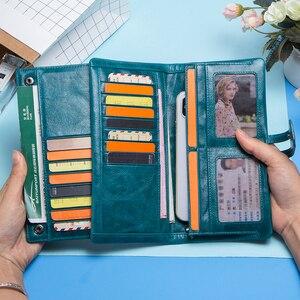 Image 4 - Contacts Fashion cartera de piel auténtica para mujer, cartera femenina de diseño largo, monedero, tarjetero, bolsillo para teléfono, alta calidad