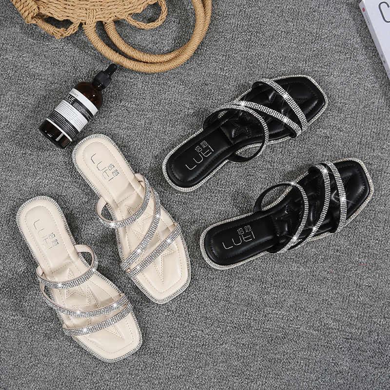 34-43 big size crystal flat sandals women three glitter band slippers soft leopard bottom beach sandalias mujer outdoor slide320