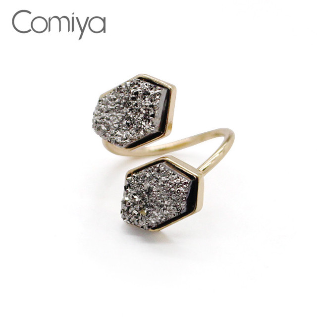 Comiya Party Bridal Sets Rings For Women Geometric Pattern Artificial Stone Mosa