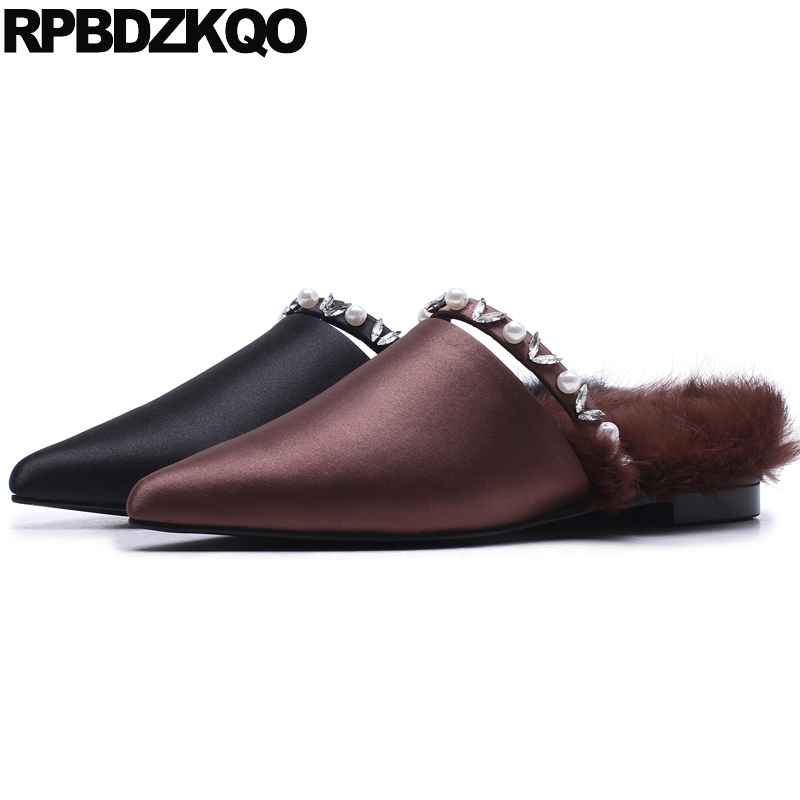 slippers fur flats mules pointed toe satin ladies beautiful shoes black crystal luxury diamond women pearl rhinestone pointy 2018 large size summer korean slides pearl slippers pointed toe designer women sandals ladies china mules beautiful flats shoes