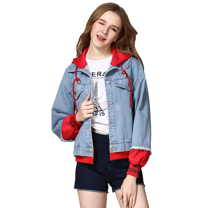 Trends New Autumn Denim   Jacket   Fashion Print Hooded Splice Boyfriend Wind Jeans   Jacket   Women Casual Long Sleeve   Basic     Jackets