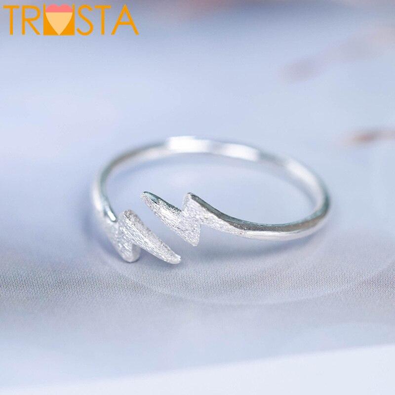 Einfach Trusta 100% 925 Echt Sterling Silber Mode Schmuck Blitz Öffnung Ring Sizable 5 6 7 Für Teen Mädchen Kid Weihnachten Geschenk Xy592 BüGeln Nicht