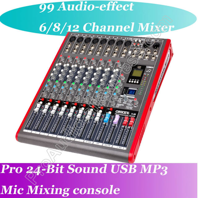 New 6 Channel High-end Mixing Console Studio Audio Mixers Mixer 24-Bit Multi-FX Processor 99 digital reverb network sing MP3