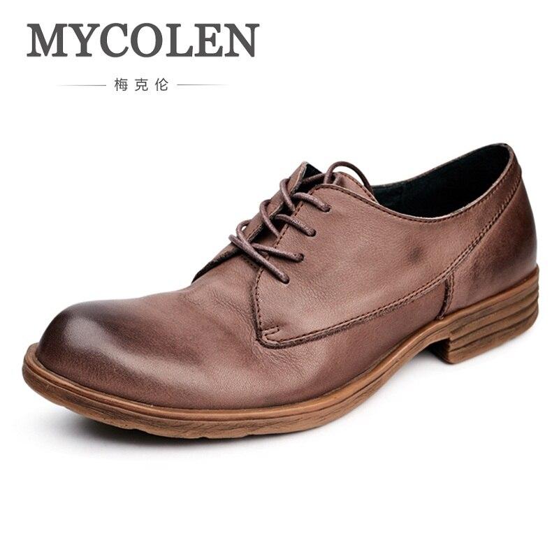 Estilo Homens Moda New Dos Balck Couro 2018 Masculino De brown Lace up Casual Sapatos Personalidade Mycolen Vintage Arrivals Shoes Do 7EpIqwq